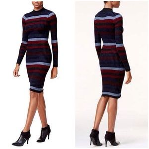 Bar III Ribbed Striped Turtleneck Sweater Dress